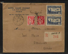 France   C6 (2)  on cover  registered to  Spain  1933      MS0819
