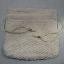 Vintage Handbag Reversible Bag White Pastel Beads Drawstring Pouch