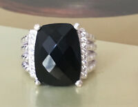 Cyber Monday Deals- Silver 16 x 12mm Black Onyx and Diamond Wheaton Ring Size 7