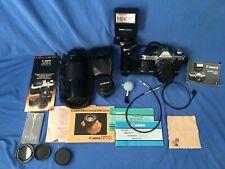 Canon Ae-1 Program 35mm Slr Film Camera 70-210mm Telephoto Lens Flash & Extras