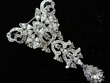 VINTAGE CORO CRAFT BUTTERFLY BROOCH PIN RHINESTONES TEAR DROP DANGLE