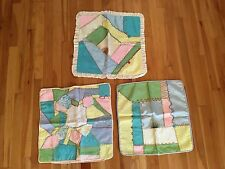 Lot of 3 Vintage Antique Victorian Embroidered Crazy Quilt Pillow Covers - 18x18