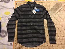 MENS SMALL GRAY/BLACK STRIPES ON STRIPES ADIDAS DRESS SHIRT - NWT