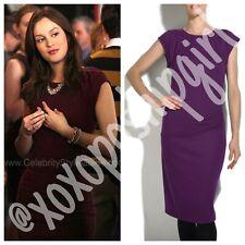 """Diane Von Furstenberg DVF """"Thane"""" Purple Wool Dress 6 Gossip Girl Blair Waldorf"""