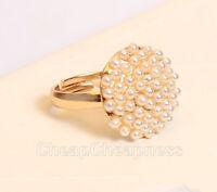 LS02 Cute Fashion Jewelry Ladies White Pearl Mushroom Finger Ring Gift KS*