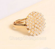 LS02 Cute Fashion Jewelry Ladies White Pearl Mushroom Finger Ring Gift LA
