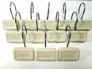 Bar of Soap Shaped Shower Curtain Hooks (Set of 12) Bathroom Niche Bath Decor