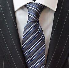 Tie Neck tie with Handkerchief Slate Grey Silver & Purple Stripe