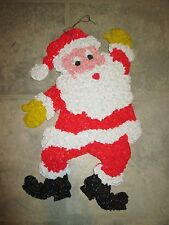 Vintage Melted Popcorn Christmas Santa Claus Waving with HTF Yellow Gloves