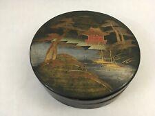 Vintage Japanese Lacquerware Round Box 4.5