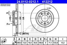 2x Bremsscheibe für Bremsanlage Hinterachse ATE 24.0112-0212.1