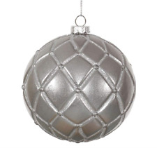 "Vickerman - 4"" Pewter Candy Glitter Net Ball Christmas Tree Ornament (6 pc)"