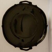 L E Smith Mt Pleasant Black Amethyst Glass Handled Bowl-Silver Floral Design