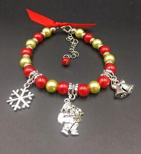 Kids Christmas Santa Clause Bells Snowflake Red & Gold Bead Bracelet Adjustable