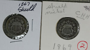 Two Original Shield Nickels - 1869 with Rays and 1869