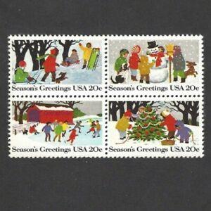 US Scott #2030a 20¢ Christmas Scenes MNH Se-Tenant Block of 4 - 1982