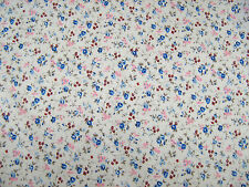Cottage Garden Blue Flowers Polycotton Print Craft/dress Fabric by 25m Roll