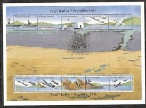 ANTIGUA # 1488 MNH PEARL HARBOR ATTACKED, WORLD WAR II.   Miniature Sheet