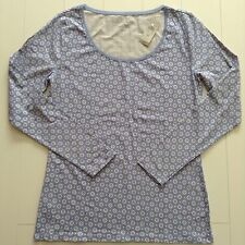 New Ann Taylor Top Long Sleeve Scoop Neck Sz M Periwinkle/White Cotton/Spandex