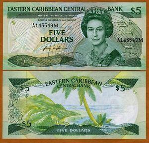 Eastern East Caribbean, $5 (1986-1988), Montserrat, P-18m, UNC