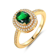 Oval Emerald Green Sapphire Yellow Gold Filled Women Lady Wedding Finger Rings