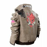Cyberpunk 2077 Costume Jacket New Style Men's Beige Leather Embroidery Jacket