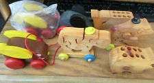 Lot of 7 Vintage The Montgomery Schoolhouse Wood Pull Toys Puzzles Whale Bunny