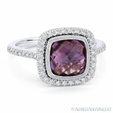 2.67ct Purple Amethyst Gem & Diamond Pave Halo Right-Hand Ring in 14k White Gold
