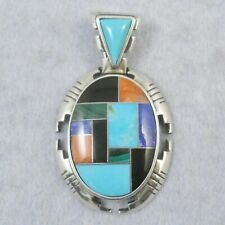 Carolyn Pollack 925 silver pendant with various inlaid gemstones, 7.9g
