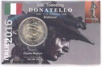 2 Euro Coincard / Infokarte Italien 2016 Donatello