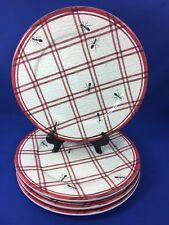 Williams Sonoma RED PLAID & BLACK ANTS Melamine Picnic DINNER PLATES Set of 4