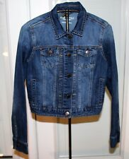 Aeropostale Juniors Distressed Dark Wash Cropped Denim Jean Jacket Size Large