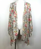L& B Lucky and Blessed Women's Kimono snake floral Plus Size long bell sleeve