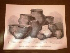 Gravure année 1873 Manufacture de Sèvres Poteries gauloise - Ceramica gallica