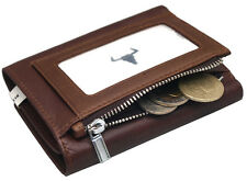 Men's Leather Wallet Tri-fold 8 Credit Card Holders Coin Zippered Pocket Purse