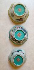 Set of 3 Antique Chinese Enameled Porcelain Bowls Bowl Daoguang Seal Mark