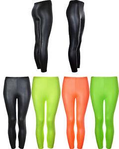 Kids Legging in Shiny Neon Colours Dancewear Funwear Bright Summer Colours