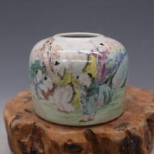 Chinese Old Marked Famille Rose Colored People Story Pattern Porcelain Water Jar