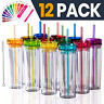 SKINNY TUMBLERS 12 Colored Acrylic Tumblers with Lids and Straws | Skinny, 16oz