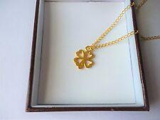 UK Seller Gold Tone Lucky Four Leaf Irish Clover Shamrock Pendant Necklace
