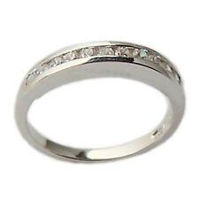 Anello fedina fede ferma anello in oro bianco 18 kt con diamanti fidanzamento