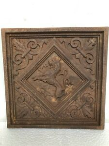 Exceptional & RARE 19th C. French Cast Iron Tile with Lion/Gargoyle - 3 of 14
