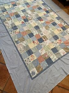Handmade quilt topper squares blue ivory floral twin 66x86 in