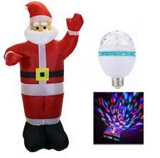 Papa Noel Santa Claus hinchable + bombilla de colores Decoración Navidad 1,3m