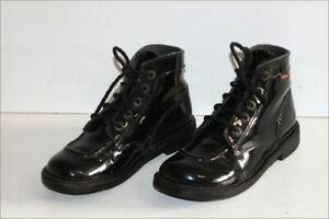 KICKERS  Bottines Boots à Lacets Cuir Verni Noir T 38 TBE