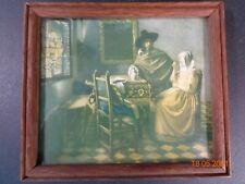 Miniature Johannes Vermeer The Wine Drinkers  miniature Print wood Frame Vintage