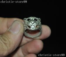 Antique Chinese Dynasty Tibetan Silver Inlay black Gem leopard head Jewelry Ring