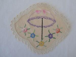 Hand Embroidered Linen Doily Doilie Parasol Umbrella Flowers Crochet Edging