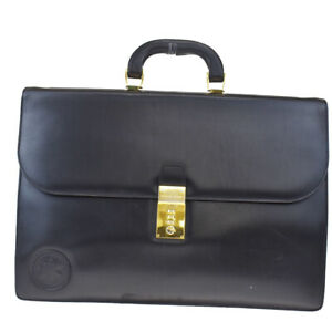 Authentic HUNTING WORLD Logo Briefcase Hand Bag Leather Black Gold 60MD677