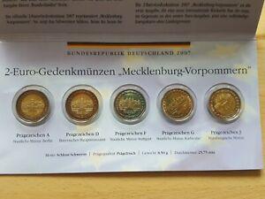 2 Euro Gedenkmünzensatz Mecklenburg-Vorpommern 2007 - 5 druckfrische 2 Euromünze